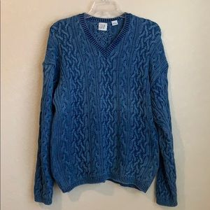 Gap Cable Knit Faded Blue V-neck Sweater